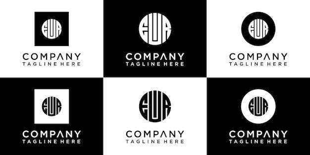 Zestaw kreatywnych logo monogram koło