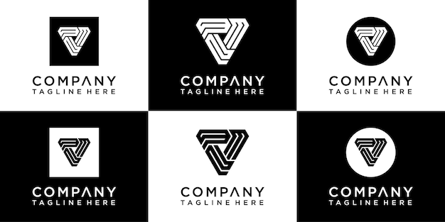 Zestaw kreatywnych logo monogramu trójkąta triangle