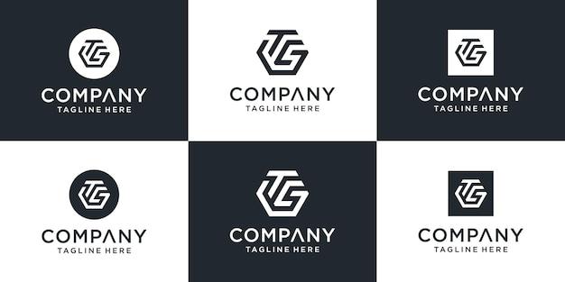 Zestaw kreatywnych logo tcg list z szablonem sześciokątnym.