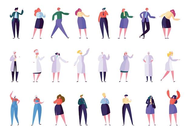 Zestaw kreatywnych ludzi zawód różnych firm. charakter biznesowy w różnych stylach życia dyrektor, sekretarz, menedżer, lekarz, pielęgniarka, brygadzista, budowniczy. ilustracja wektorowa płaski kreskówka