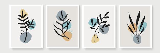 Zestaw kreatywnych minimalistycznych abstrakcyjnych ręcznie rysowanych ilustracji monoline do dekoracji ścian.