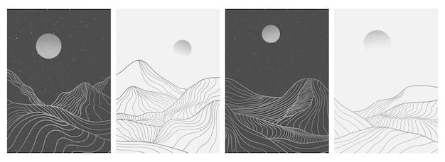 Zestaw kreatywnych minimalistycznych nowoczesnych ilustracji w stylu liniowym.