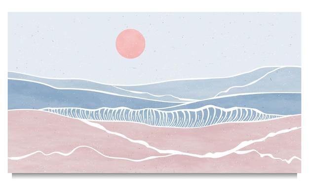 Zestaw kreatywnych, minimalistycznych, nowoczesnych linii art print. streszczenie fal oceanicznych współczesne estetyczne tła krajobrazy. z morzem, panoramą, falą. ilustracje wektorowe
