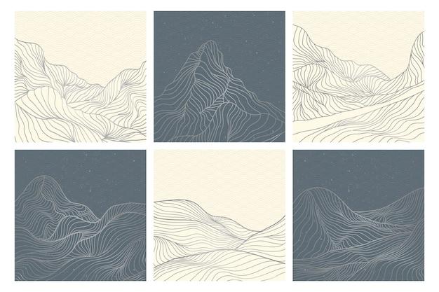 Zestaw kreatywnych, minimalistycznych, nowoczesnych linii art print. streszczenie górskie współczesne estetyczne tła krajobrazy. z górą, lasem, morzem, panoramą, falą. ilustracje wektorowe
