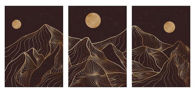 Zestaw kreatywnych, minimalistycznych, nowoczesnych, złotych linii art print. streszczenie górskie współczesne estetyczne tła krajobrazy. z górą, lasem, morzem, panoramą, falą. ilustracje wektorowe