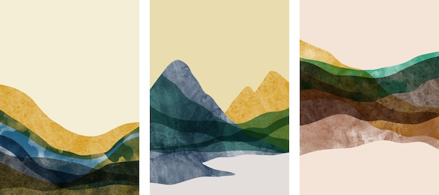 Zestaw kreatywnych minimalistycznych ręcznie malowanych. abstrakcyjne tło sztuki.