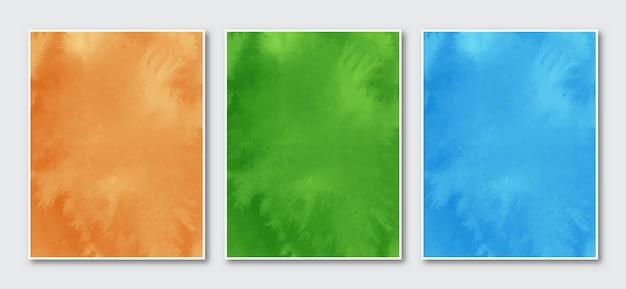 Zestaw kreatywnych minimalistycznych ręcznie malowanych abstrakcyjnych akwareli tła.