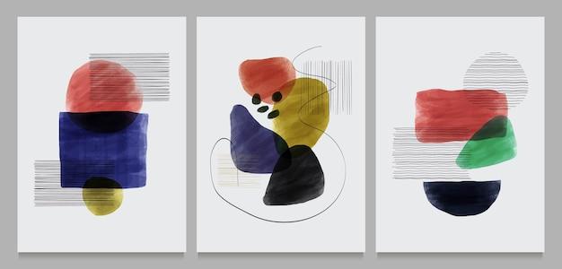 Zestaw kreatywnych minimalistycznych ręcznie malowanych ilustracji