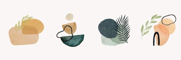 Zestaw kreatywnych, minimalistycznych, ręcznie malowanych kompozycji boho z tropikalnymi liśćmi i abstrakcyjnymi kształtami