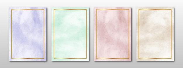 Zestaw kreatywnych minimalistycznych ręcznie malowanych streszczenie tło akwarela