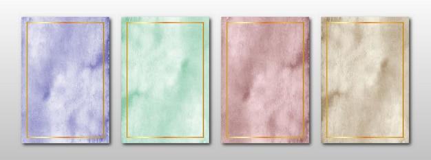 Zestaw kreatywnych minimalistycznych ręcznie malowanych zaproszeń ślubnych z abstrakcyjną akwarelą