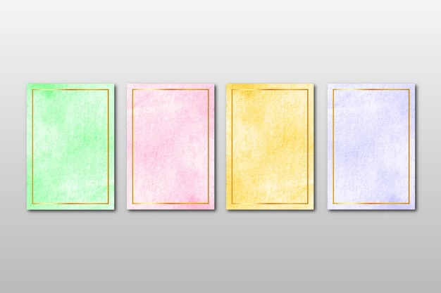 Zestaw kreatywnych minimalistycznych ręcznie malowanych zaproszeń ślubnych z abstrakcyjnymi akwarelami