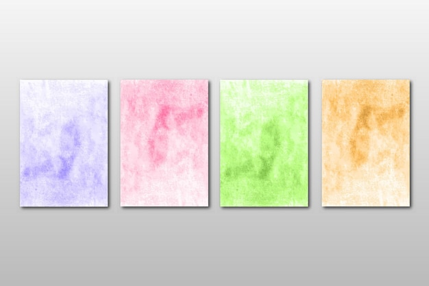Zestaw kreatywnych minimalistycznych ręcznie malowanych zaproszenia ślubne z abstrakcyjnym wzorem akwareli