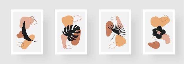 Zestaw kreatywnych minimalistycznych ręcznie rysowanych ilustracji, liści i pastelowych prostych kształtów