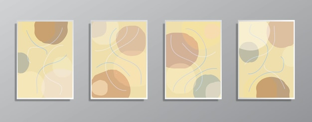 Zestaw kreatywnych, minimalistycznych ręcznie rysowanych ilustracji w stylu vintage w neutralnych kolorach