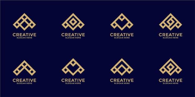 Zestaw kreatywnych monogram list szablon projektu logo