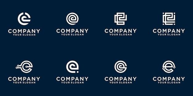Zestaw kreatywnych monogram litery e logo szablon
