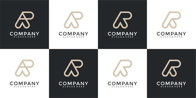 Zestaw kreatywnych monogramów list ar logo szablon