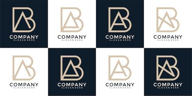 Zestaw kreatywnych monogramów list ba logo szablon