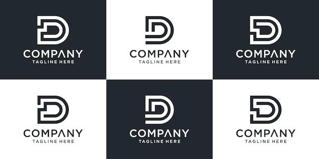 Zestaw kreatywnych monogramów list dd logo abstrakcyjny projekt inspiracji