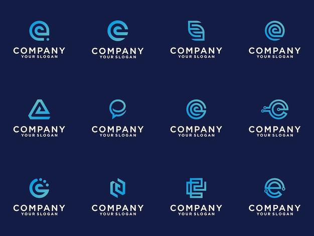 Zestaw kreatywnych monogramów list e logo szablon.