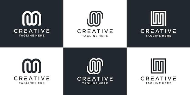Zestaw kreatywnych monogramów list mw logo abstrakcyjny projekt inspiracji.