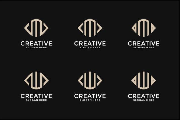 Zestaw kreatywnych monogramów list mw logo szablon