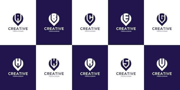 Zestaw kreatywnych monogramów list od a do z logo szablon