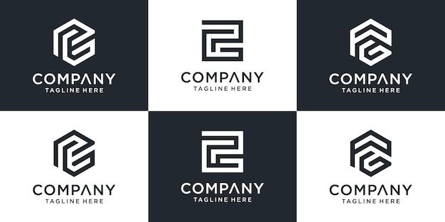 Zestaw kreatywnych monogramów list pg logo szablon.