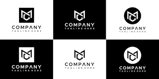 Zestaw kreatywnych monogramów list projektowania logo mc