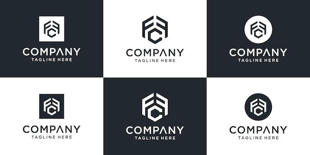 Zestaw kreatywnych monogramów list szablon logo fcf.