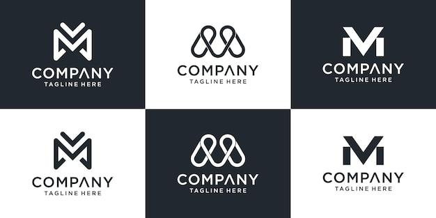 Zestaw kreatywnych monogramów list szablon logo mv. logo może być używane dla biznesu i firmy budowlanej.