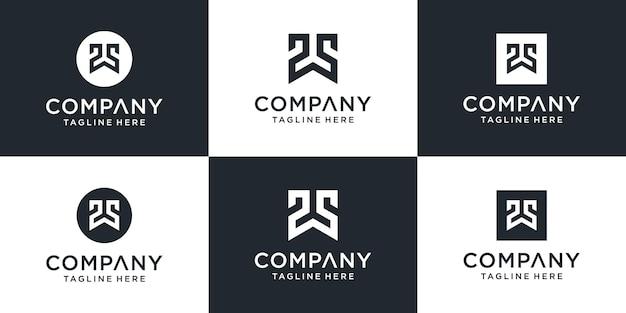 Zestaw kreatywnych monogramów list szablon logo ws.