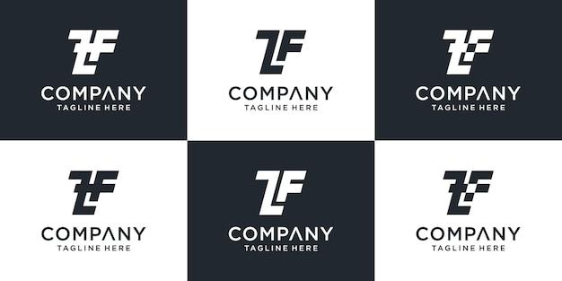 Zestaw kreatywnych monogramów list szablon logo zf.