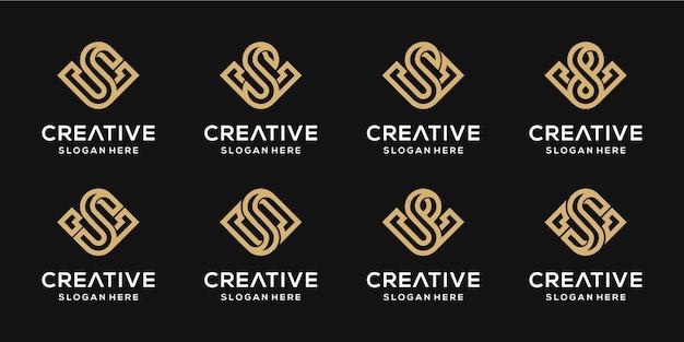 Zestaw kreatywnych monogramów liter s i v kombinacji złota szablon projektu.