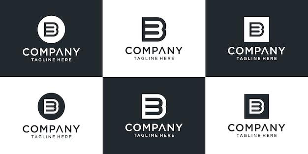 Zestaw kreatywnych monogramów litera b inspiracji projektowania logo