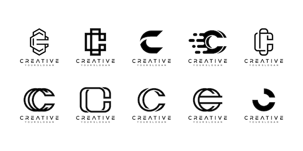 Zestaw kreatywnych monogramów litera c logo szablon projektu.