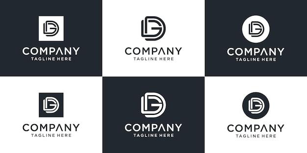 Zestaw kreatywnych monogramów litera dg logo szablon. logo może być używane dla biznesu i firmy budowlanej.
