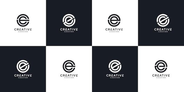 Zestaw kreatywnych monogramów litera e logo szablon projektu. logo może służyć do budowania firmy.