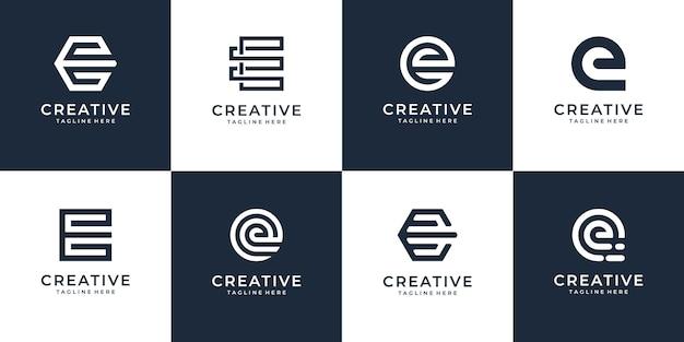 Zestaw kreatywnych monogramów litera e projektowanie logo