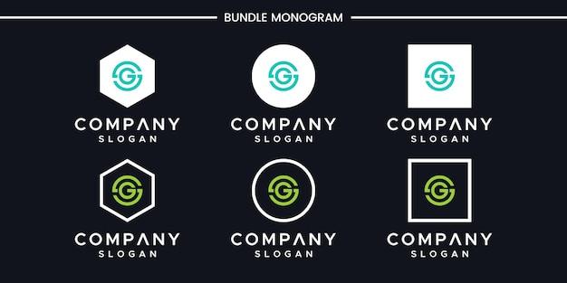 Zestaw kreatywnych monogramów litera g projektowania logo
