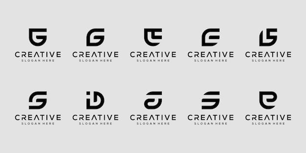 Zestaw kreatywnych monogramów litera g, si e szablon projektu logo