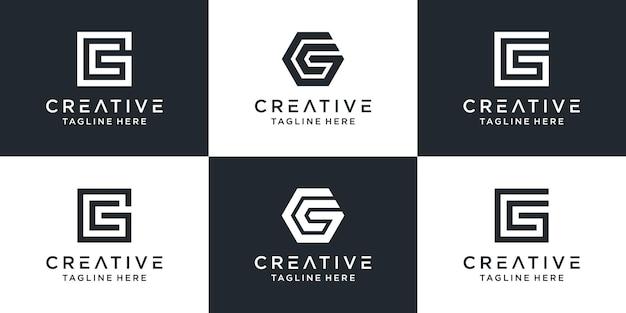 Zestaw kreatywnych monogramów litera gc logo szablonu. logo może być używane dla biznesu i firmy budowlanej.
