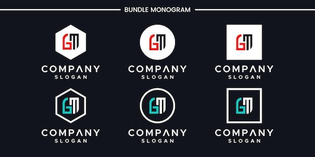 Zestaw kreatywnych monogramów litera gm projektowanie logo