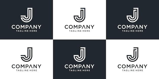 Zestaw kreatywnych monogramów litera j logo inspiracji