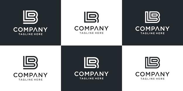 Zestaw kreatywnych monogramów litera lb inspiracji projektowaniem logo