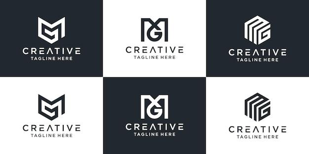 Zestaw kreatywnych monogramów litera mg logo abstrakcyjnego projektu inspiracji