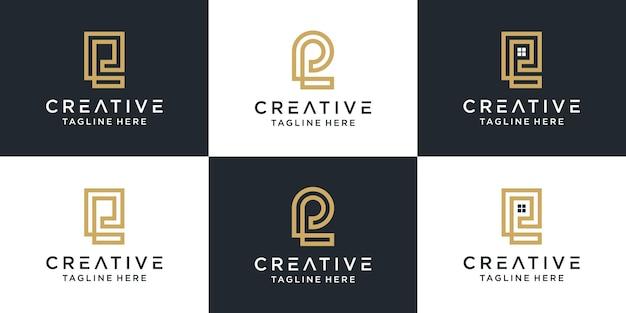 Zestaw kreatywnych monogramów litera pl logo abstrakcyjna inspiracja projektowa