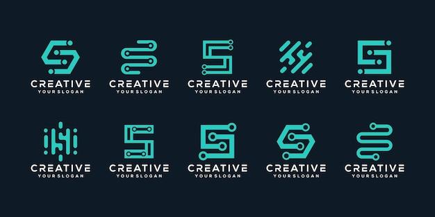 Zestaw kreatywnych monogramów litera s logo szablon projektu