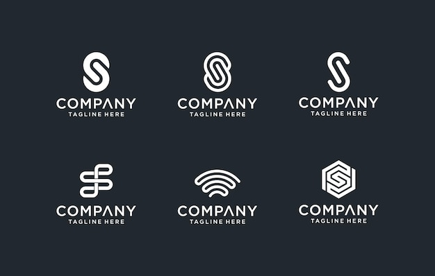 Zestaw kreatywnych monogramów litera ss logo szablon. logo może być używane w budownictwie, biznesie i firmie technologicznej.